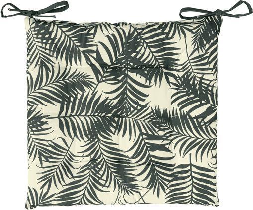 Coussin de chaise d'extérieur imprimé feuilles Gomera, Blanc crème, gris foncé teinté vert