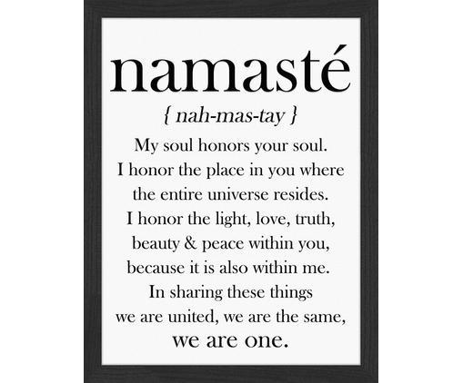 Gerahmter Digitaldruck Namasté, Bild: Digitaldruck auf Papier, , Rahmen: Holz, lackiert, Front: Plexiglas, Bild: Schwarz, Weiß Rahmen: Schwarz, 33 x 43 cm
