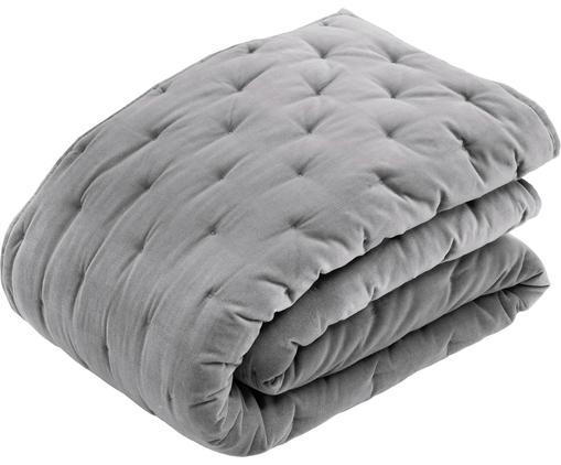 Couvre-lit ouaté en velours avec matelassage décoratif Cheryl, Gris