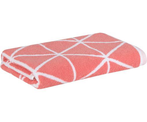 Telo bagno reversibile Elina, 100% cotone, Qualità media 550g/m², Corallo, bianco, P 70 x L 140 cm