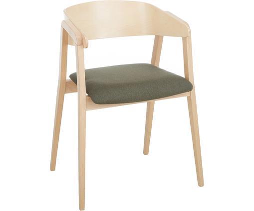 Krzesło z podłokietnikami Klara z drewna bukowego, Tapicerka: poliester 50000 cykli w , Stelaż: drewno bukowe, lite, jasn, Szary, jasny brązowy, S 52 x G 48 cm
