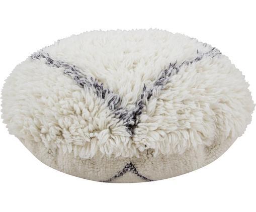 Flauschiges Bodenkissen Berber Soul, Bezug: Wolle, Cremeweiß, Grau, Ø 70 cm