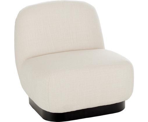 Fauteuil lounge blanc crème Elsie, Tissu blanc crème