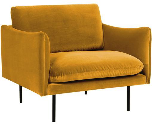 Fluwelen fauteuil Moby, Bekleding: fluweel (hoogwaardige pol, Frame: massief grenenhout, Poten: gepoedercoat metaal, Fluweel mosterdgeel, B 90 x D 90 cm