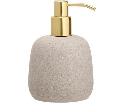 Dosificador de jabón Luis, Recipiente: poliresina, Dosificador: metal, recubierto, Beige, dorado, Ø 10 x Al 16 cm
