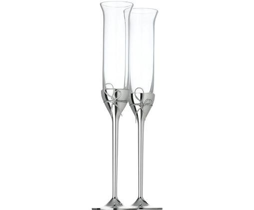 Vera Wang Designer-Sektgläser Love Knots in Silber, 2er-Set, Schleife: Metall, versilbert, Silberfarben, Transparent, Ø 6 x H 27 cm
