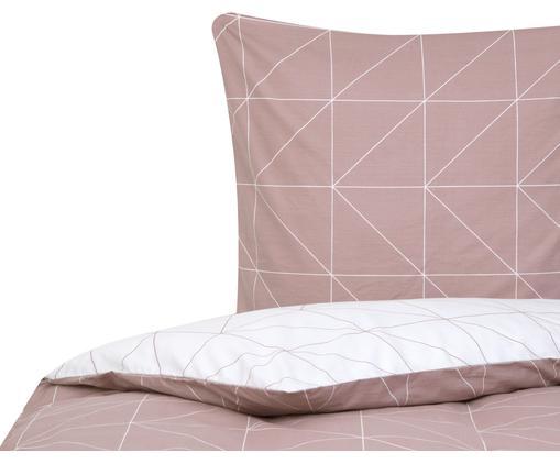 Obojstranná posteľná bielizeň z bavlny renforcé s grafickým vzorom Marla, Tmavoružová, biela