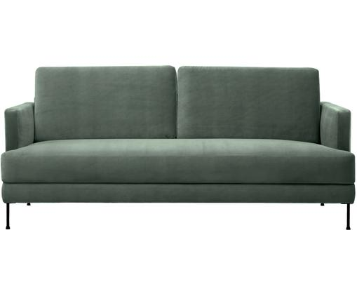 Fluwelen bank Fluente (3-zits), Bekleding: fluweel (hoogwaardig poly, Frame: massief grenenhout, Poten: gelakt metaal, Groen, B 197 x D 83 cm