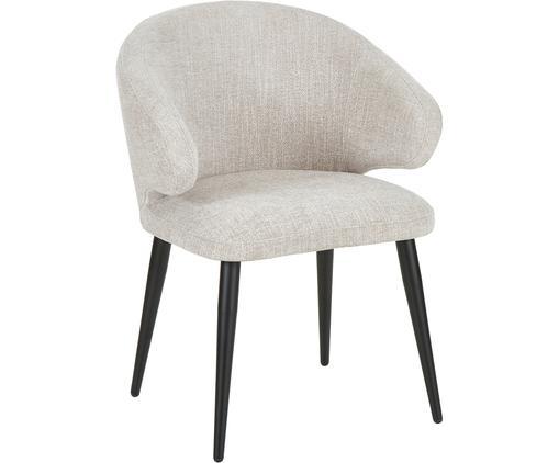 Chaise à accoudoirs, design moderne Celia, Revêtement: gris clair Pieds: noir, mat