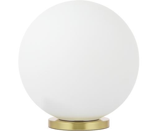 Lampada da tavolo a sfera Beth, Paralume: vetro, Base della lampada: metallo, ottonato, Bianco, ottone, Ø 25 x Alt. 26 cm