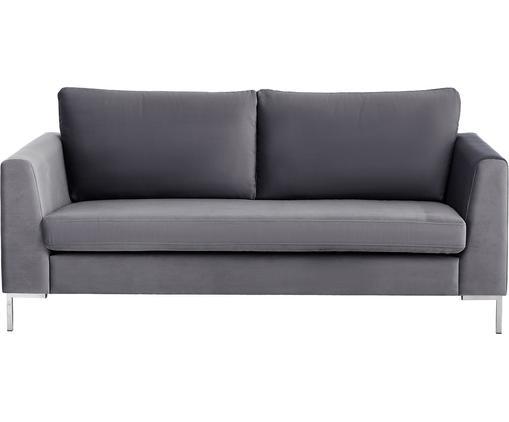 Samt-Sofa Luna (2-Sitzer), Bezug: Samt (Polyester) 80.000 S, Gestell: Massives Buchenholz, Füße: Metall, galvanisiert, Dunkelgrau, B 172 x T 95 cm