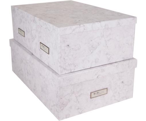 Aufbewahrungsboxen-Set Inge, 3-tlg., Box: Fester, laminierter Karto, Weiß, marmoriert, Sondergrößen
