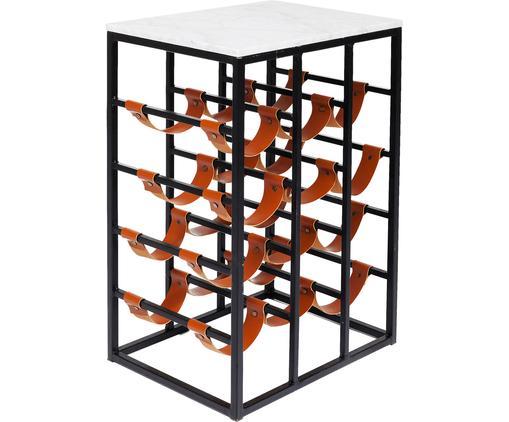 Portabottiglie Key West, Struttura: metallo verniciato a polv, Ripiano: marmo, Nero, marrone, bianco, Larg. 72 x Alt. 65 cm