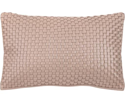 Leder-Kissenhülle Josefin mit Flechtmuster in Taupe, Taupe, 30 x 50 cm
