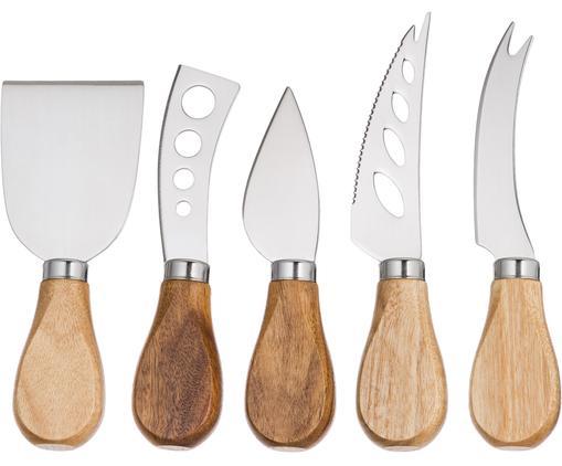Couteaux à fromage argentés avec manche en bois Frija, 5élém., Bois d'acacia, acier inoxydable