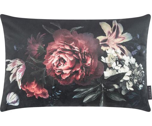 Housse de coussin en velours imprimé fleurs Beverly, Noir, rouge, crème, vert