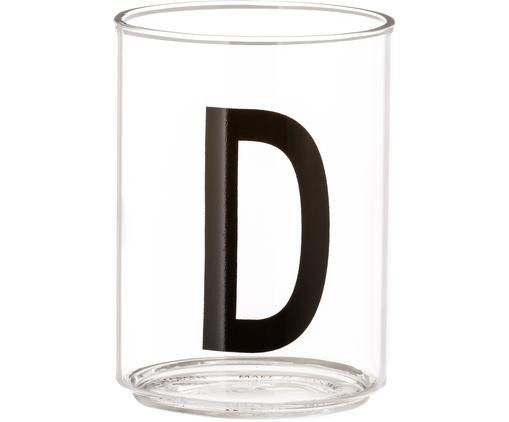 Vasos con letra Personal (variantes de A a Z), Vidrio de borosilicato, Transparente, negro, Vaso D
