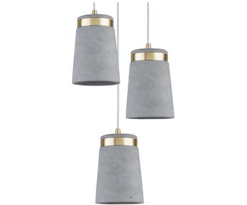 Suspension moderne à 3 lampes Norell, Gris, couleur laiton