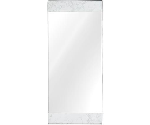 Specchio da parete Kopenhagen, Cornice: melamina, metallo, Superficie dello specchio: lastra di vetro, Retro: pannelli di fibra a media, Bianco marmorizzato, nero, Larg. 75 x Alt. 176 cm