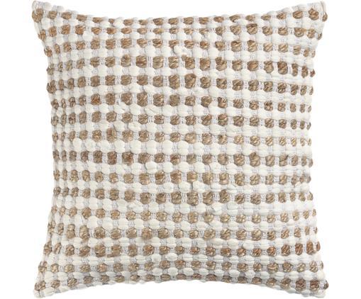 Kissenhülle Fiesta mit Jute-Details, 55% Baumwolle, 45% Jute, Weiß, Beige, 45 x 45 cm