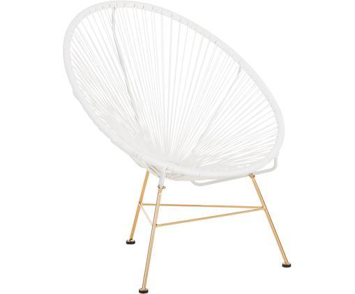 Fotel Grace, Stelaż: metal powlekany, Siedzisko: biały Stelaż: odcienie złotego, S 81 x G 73 cm
