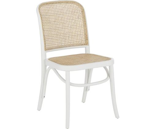 Sedia con intreccio viennese Franz, Seduta: rattan, Struttura: legno di betulla massicci, Bianco, Larg. 48 x Prof. 59 cm