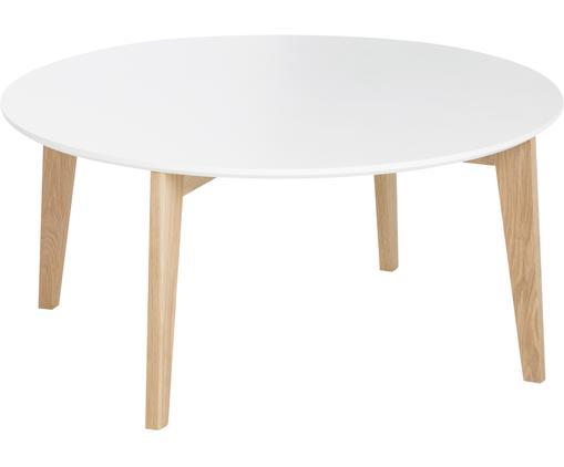 Großer Couchtisch Lucas im Skandi Design, Tischplatte: Mitteldichte Faserplatte , Beine: Eichenholz, Weiß, Eiche, Ø 90 x H 42 cm