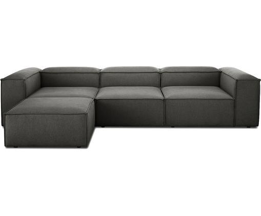 Canapé d'angle modulable dossier bas Lennon, Tissu anthracite