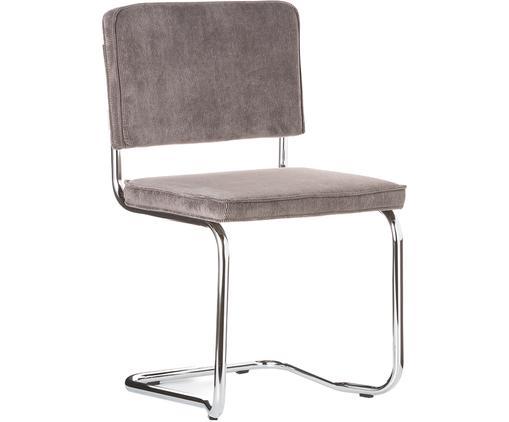 Silla cantilever Ridge Kink Chair, Tapizado: 88%nylon, 12%poliéster, Estructura: metal, cromado El tapizad, Gris, An 48 x Al 85 cm