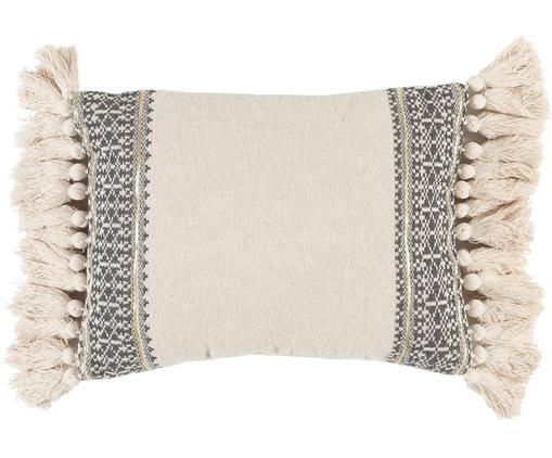 Handgemachtes Kissen Hektor mit Stickerei und Lurexfäden, mit Inlett, Cremeweiß, Grau, 30 x 40 cm
