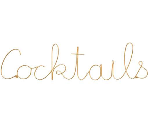 Wandobjekt Cocktails, Aluminium, Goldfarben, 48 x 12 cm