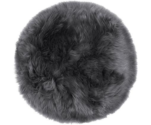 Galette de chaise en peau de mouton lisse Oslo, Gris foncé