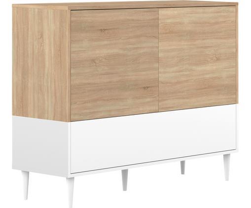 Credenza scandi Horizon, Piedini: legno di faggio, massicci, Legno di quercia, bianco, Larg. 120 x Alt. 95 cm