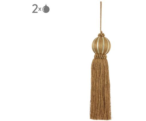 Nappa decorativa Asena 2 pz., Poliestere, Giallo senape, Ø 6 x Alt. 27 cm