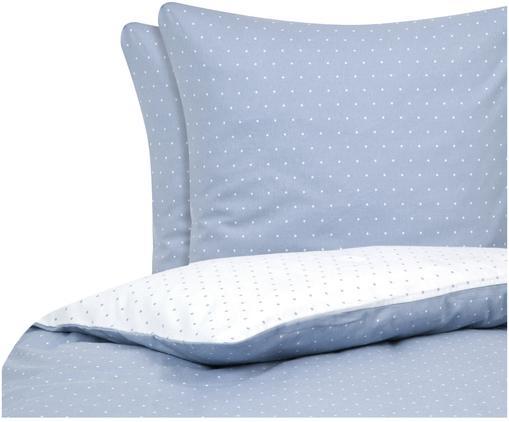 Dwustronna pościel z cienkiej flaneli Betty, Bawełna, cienka flanela, Jasny niebieski, biały, 240 x 220 cm