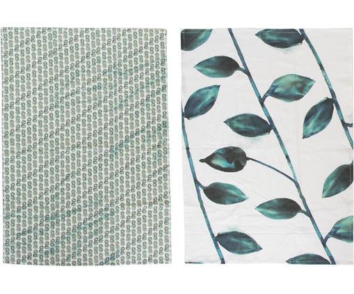 Set canovacci Leafs, 2 pz., Cotone, Bianco, verde, Larg. 50 x Lung. 70 cm