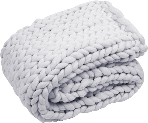 Manta artesanal de lana merino Chunky, 100%lana merino, Gris claro, An 120 x L 150 cm