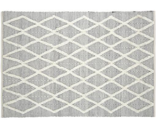 Alfombra artesanal Lucas, Parte superior: 60%lana, 40%algodón, Reverso: 100%algodón, Gris, An 160 x L 230 cm (Tamaño M)