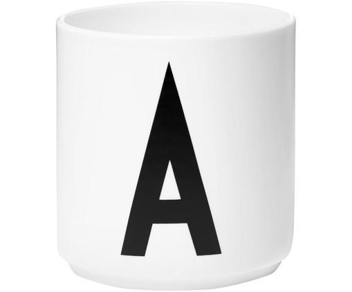 Design Becher Personal mit Buchstaben (Varianten von A bis Z), Fine Bone China, Weiß, Schwarz, Becher A