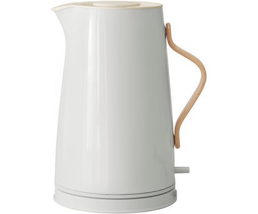 Wasserkocher Emma in Kalkweiß glänzend, Griff: Buchenholz, Kalkweiß, 1.2 L
