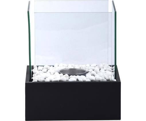 Bio kominek Damin, Srebrny, transparentnyny, Czarny, transparentny, S 25 x W 28 cm