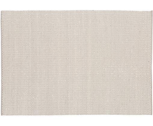 Handgewebter Wollteppich Corsa mit erhabenem Wellenmuster in Grau-Creme, Creme, Hellgrau, B 140 x L 200 cm (Größe S)