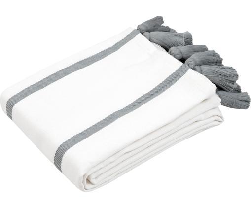 Couvre-lit à rayures avec houppes Joe, Blanc crème, gris