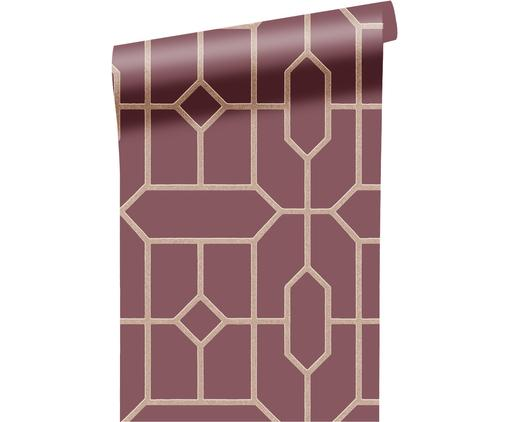 Papel pintado Geometric, Tela sin tejer, lisa, Burdeos, beige, An 52 x L 1000 cm