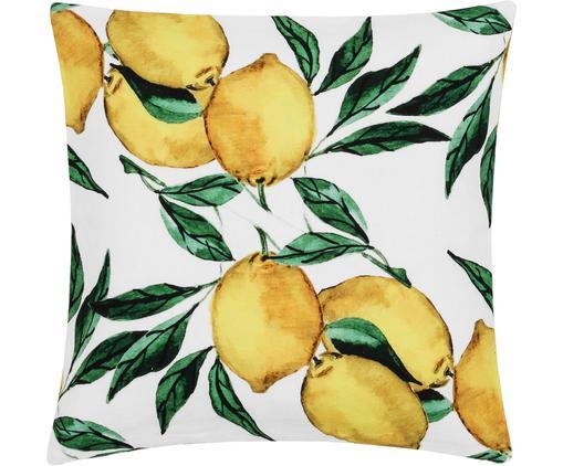 Housse de coussin à imprimé Citrus, Jaune, vert, blanc