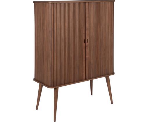 Highboard Barbier im Retro Design, Korpus: Mitteldichte Holzfaserpla, Einlegeböden: Hartglas, Walnussholz, 100 x 140 cm