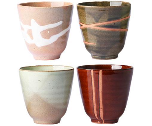 Becher-Set Yunomi, 4-tlg., Keramik, Mehrfarbig, Ø 9 x H 8 cm