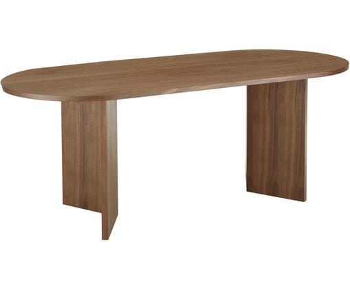 Tavolo ovale in legno Toni, Pannello di fibra a media densità (MDF) con finitura in noce, verniciato, Finitura in noce, Larg. 200 x Prof. 90 cm