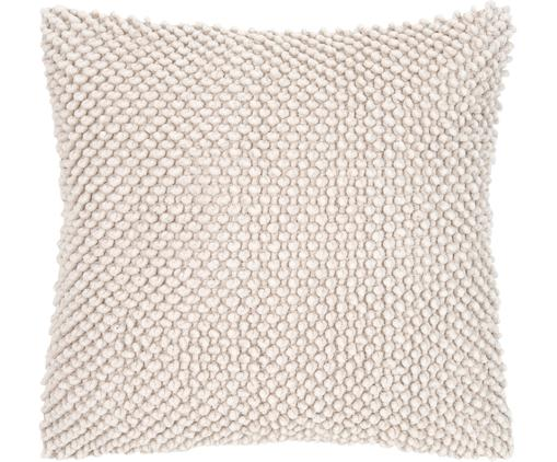 Funda de cojín texturizada Indi, Algodón, Blanco crema, An 45 x L 45 cm