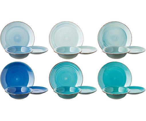 Vajilla Baita, 6 personas (18pzas.), Gres, pintadaamano, Tonos de azul, menta y turquesa, Tamaños diferentes